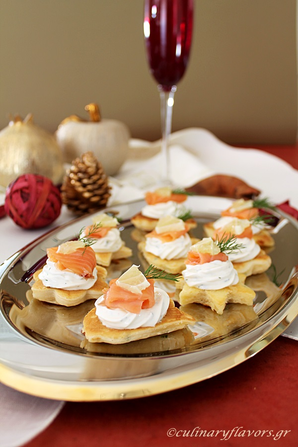Little Pancakes with Cream Cheese, Smoked Salmon and Shrimps