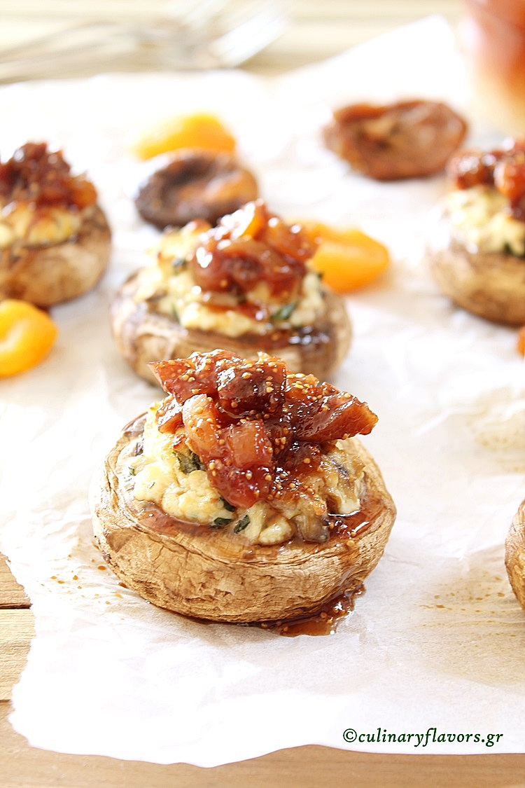 Anthotiro Stuffed Mushrooms with Dried Fig Sauce