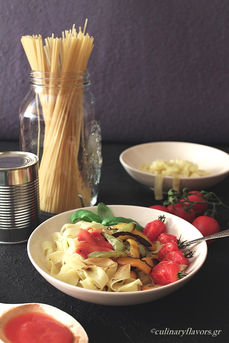 Roasted Vegetables and Sweet Wine Tagliatelle