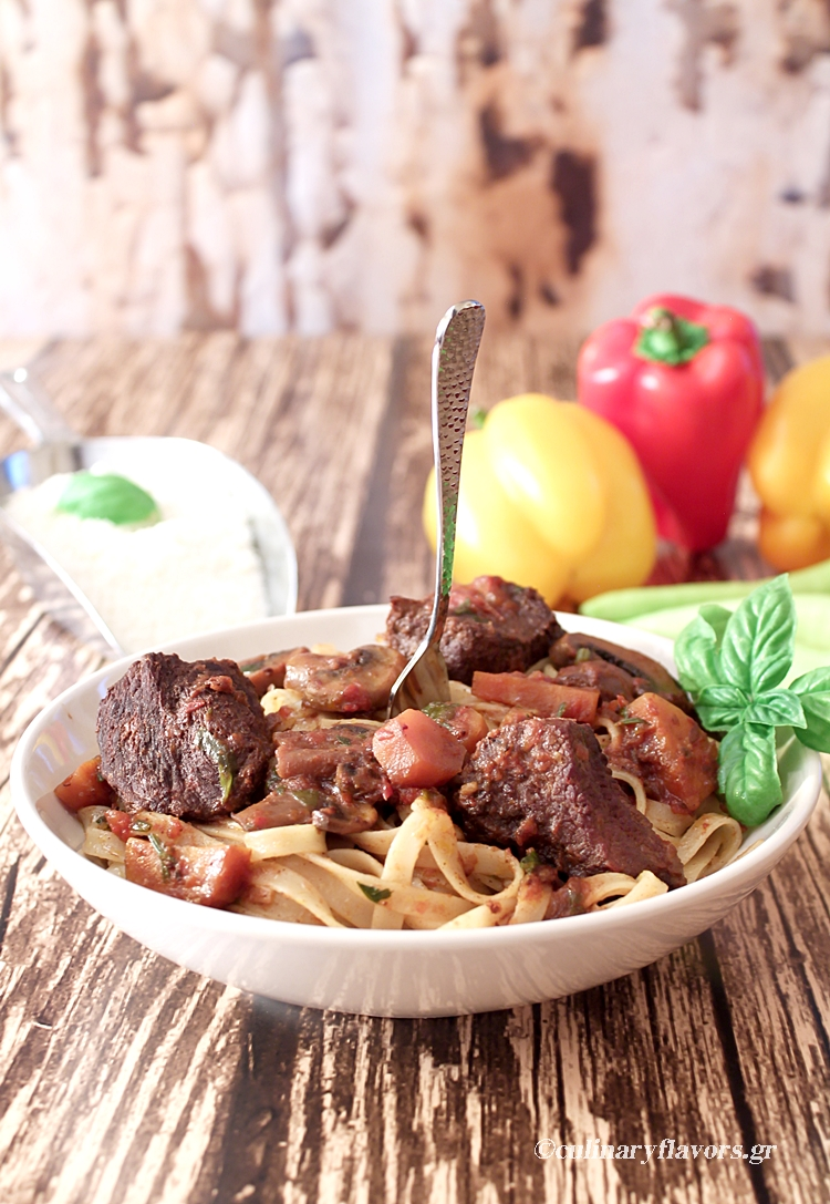Slow Cooked Beef Ragù with Sweet Red Wine over Pasta