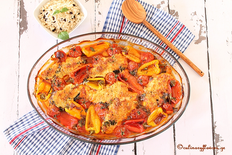 Halloumi Smothered Chicken with Peppers and Cherry Tomatoes