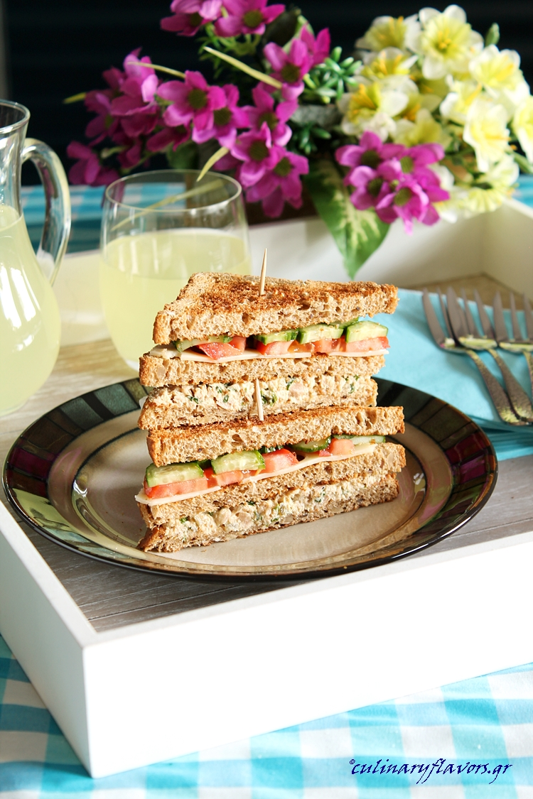 Tuna Salad Club Sandwich and Cream Cheese Ham Rolls