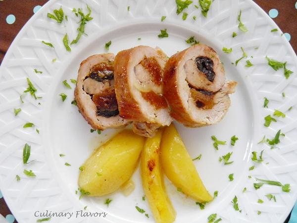 Stuffed Pork Tenderloin with Potatoes