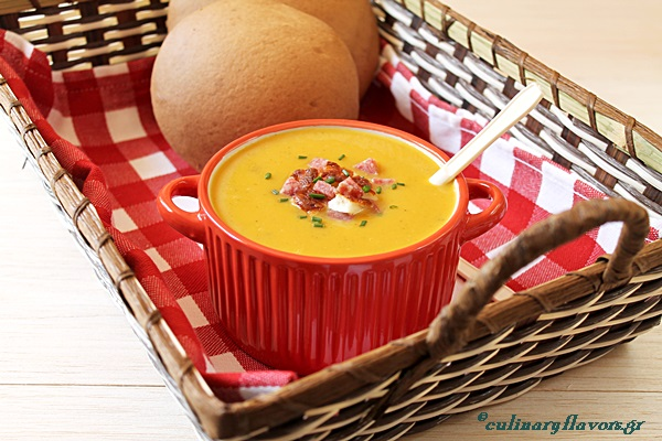 Butternut Squash Soup with Lefkada Salami and Halloumi Croutons