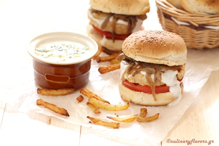Turkey Burgers with Blue Cheese Sauce