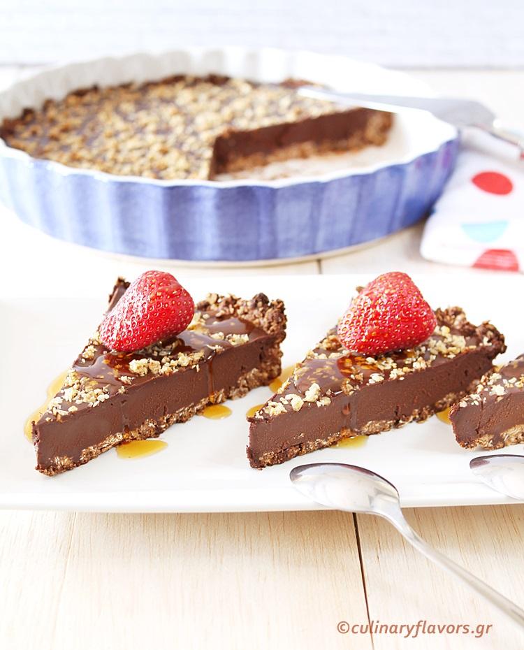 Vegan Chocolate Tart with Strawberries
