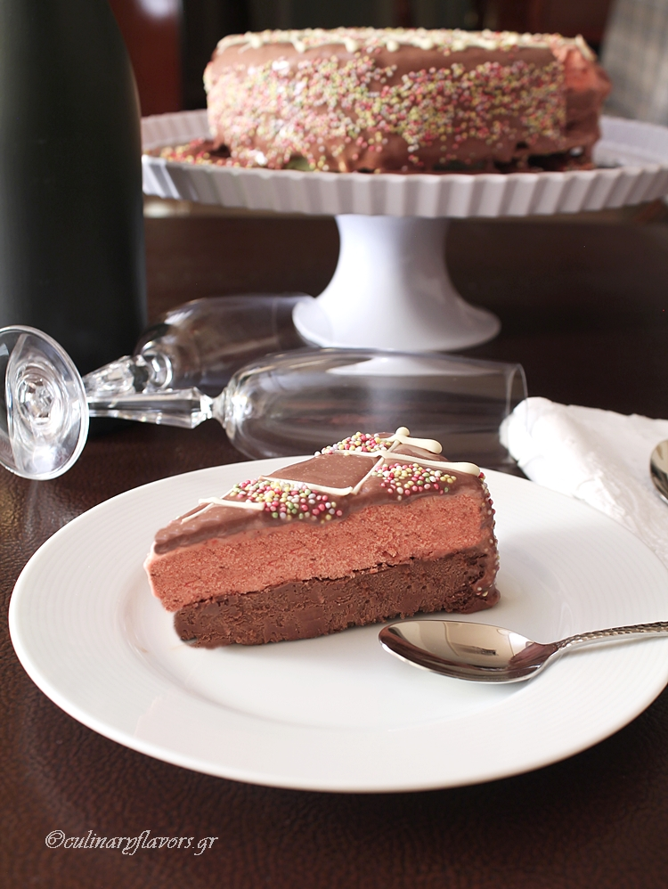 Chocolate Strawberry Semifreddo Torte
