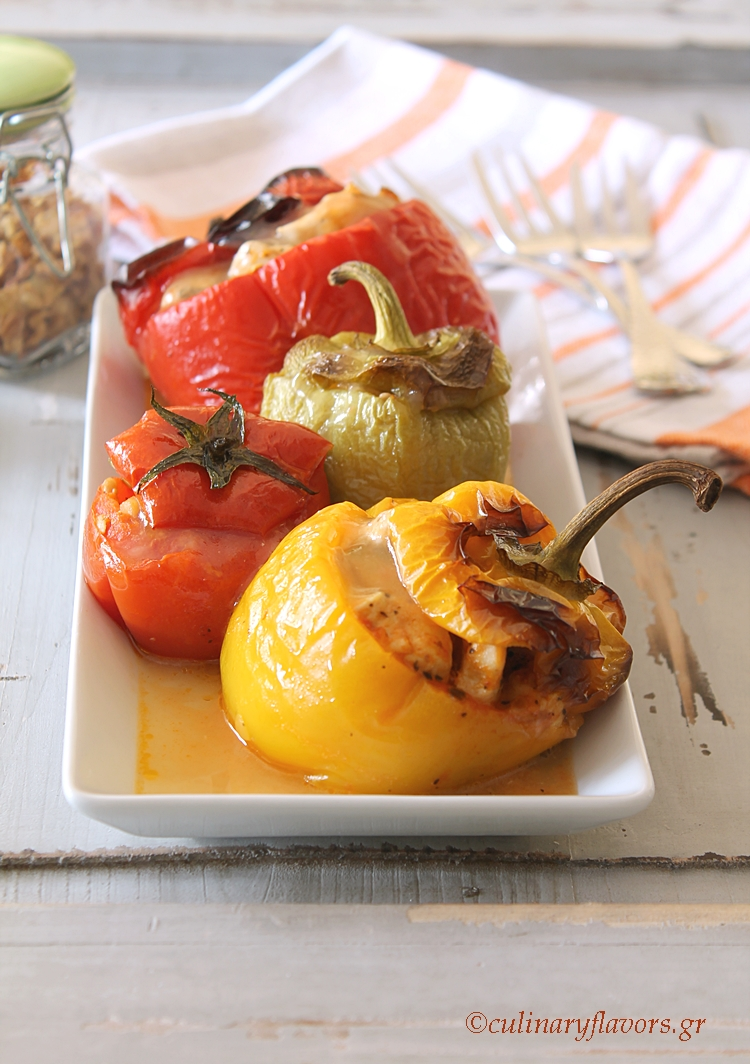 Chicken Stuffed Peppers and Tomatoes