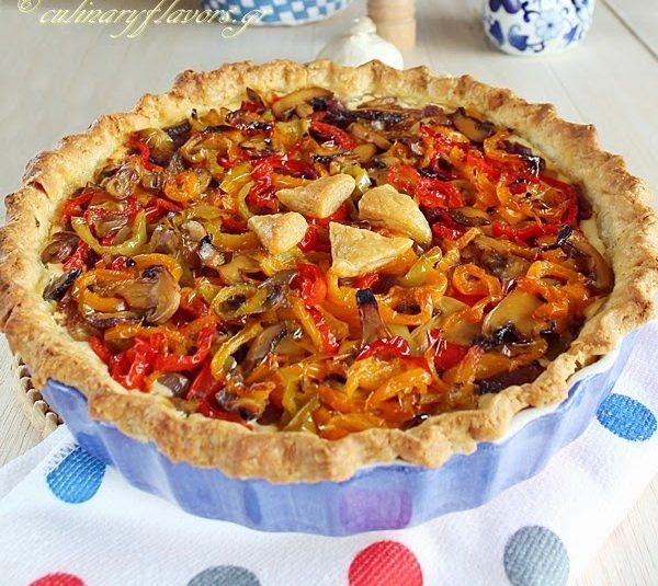 Caramelized Onions, Peppers and Cream Cheese Tart