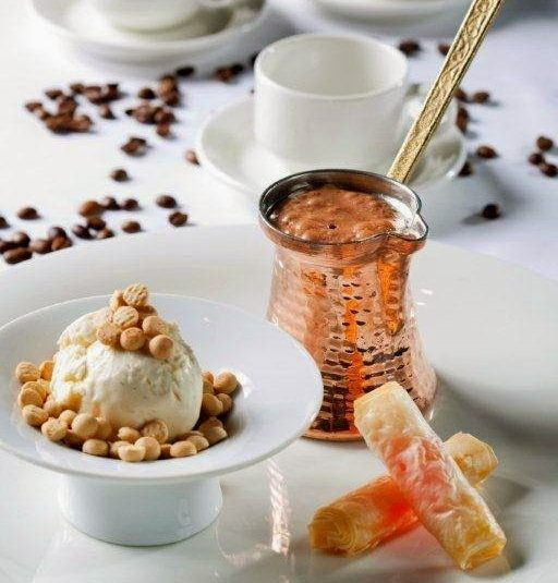 Greek Coffee Mousse with Loukoumi Rolls